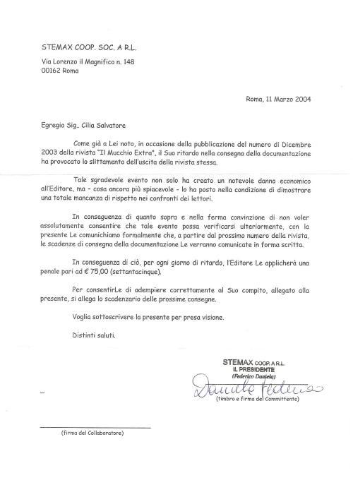 Lettera Daniela Federico